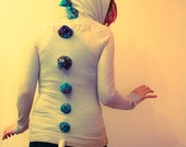Upcycled Dino Hoodie- Ladies Small- Beige with Purple Spikes- Costume, Burning Man, Rave Festival