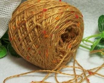 Mackintosh Gold Tweed Wool Blend Yarn, Burnished Golden Color with Bits of Orange & Bright Red Yarn, Bin 3