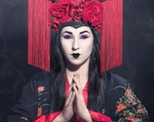 Goth Geisha Headdress by Creatrix by Willow