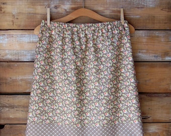 SALE, Floral Cotton Skirt, A-Line Skirt, Womens Skirt, Size 10, Spring Skirt, Brown Sugar and Peach Floral Skirt, Summer Skirt, Cotton Skirt