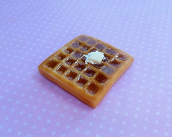 polymer clay buttery waffle magnet