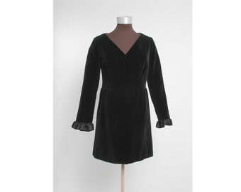 1960's GIVENCHY NOUVELLE Black Velvet Dress with Satin Ruffle Sleeves 60's 1970's 70's Designer Couture