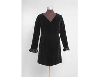 SALE! 1960s GIVENCHY NOUVELLE vintage dress * black velvet + satin ruffle * 60s 1970s 70s designer couture 5S899