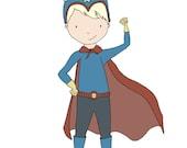 Children Art -- Superhero Boy -- Ready To Save The Day! -- Boy Nursery Art Print, Boys Room Decor, Children Art, Kids Wall Art