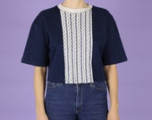 Cropped Navy Stripe Knit ...