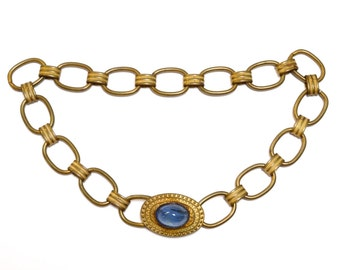 Medieval Revival Brass Blue Marble Glass Necklace