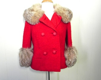 Vintage 1950s Red Short Coat - 50s Jacket Red Wool Boucle with Fur Trim - on sale