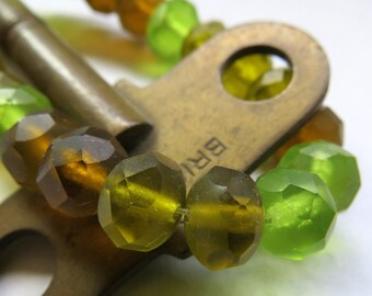 BACK IN STOCK Earthy SeaGlass Mix . Czech Frosted Glass Beads (10 beads) 6 by 8 mm