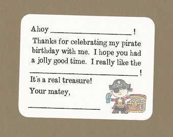 Pirate Fill in the Blanks Thank You Notes - Great for Boy's Birthday Thanks - Ahoy Matey!