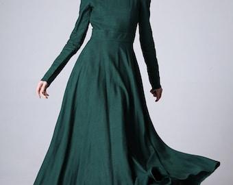 French dress,Maxi Dress,Boho dress,floor length dress,long dress,women dresses,Linen Dress,Green Dres,Fall dress,Long sleeve dress 1177