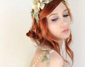 Wedding headpiece, ivory flower crown, bridal headband, cream floral crown, flower wreath, wedding hair accessories - Shepardess