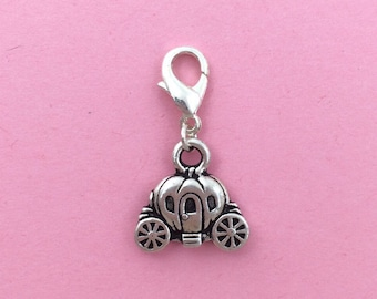 Silver pumpkin carriage clip on charm - princess jewelry - fairy tale charm - cinderella jewelry - unique gift for girls