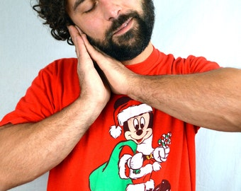 Vintage 80s Oversized Mickey Mouse Santa Christmas Holiday Night Shirt Nightie Tee Shirt