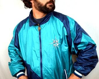 Vintage 80s 90s MLB Seattle Mariners Windbreaker Jacket