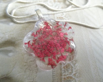 Pink Queen Anne's Lace Glass Flower Shaped Pressed Flower Pendant-Symbolizes Peace-Nature's Wearable Art-Gifts Under 25
