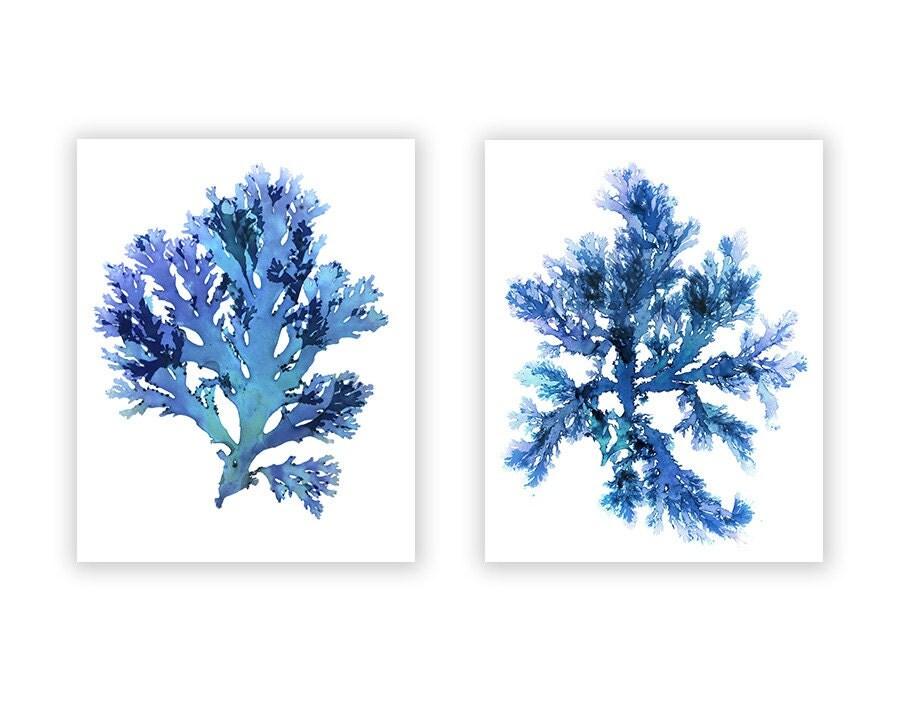 Seaweed art prints large blue artwork beach house wall for Beach house prints