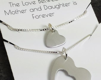 Mother Daughter Jewelry - Sterling Silver Heart in Heart Necklace Set - Mother Daughter Necklace Set