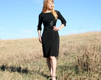 Vintage 50's Little Black Dress M - Designer Hannah Troy - Classic Timeless Style - Wiggle Dress