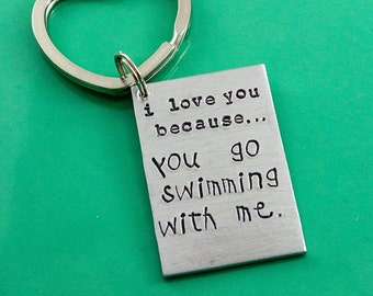 Father's Day gift from child - I love you because - keychain for dad - hand stamped - from child key chain - gift for dad from kids