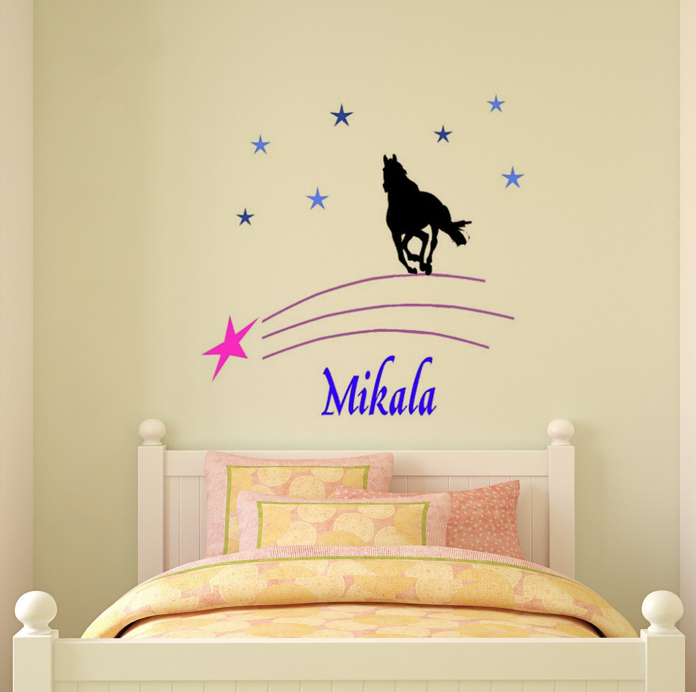 Horse decal name wall sticker girls bedroom wall decal teen