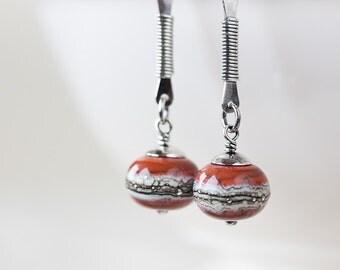 Contemporary long sterling silver earrings, brick red ivory lampwork earrings, minimalist modern dangle earrings