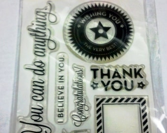 Simon Says Stamp Clear Stamps You Can Do Anything designed by Kristina Werner scrapbooking or card making filled with sentiments thank you