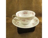 Vintage Haviland Limoges Purple & White Rose Bouquet Garland Cup and Saucer by Theodore Haviland