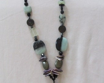 wampum treasure box pirate necklace with pyrite and amazonite