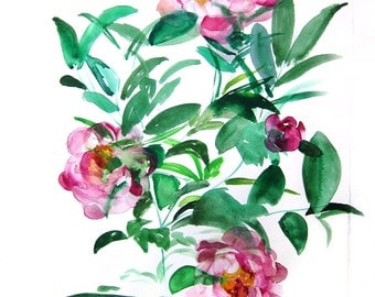 Peonies - Original Watercolor Collage - Illustration - Painting - 20x24 - Flower Art - Nature - Floral Abstract Art - Framed
