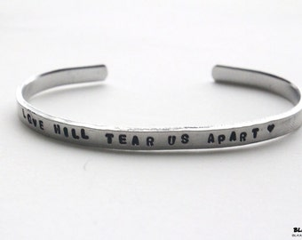 Valentine's Day Love Will Tear Us Apart Bracelet Joy Division personalized bangle silver aluminum Ian Curtis