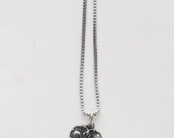 New Orleans Heart Fleur De Lis Silver Necklace Gothic Shield Nola Mardi Gras BLKANDNOIR