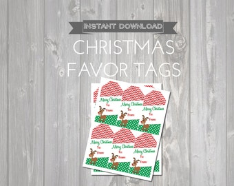 Printable Christmas Gift Tags - Reindeer To From Tags - Christmas Gifts - Printable Holiday Tags - Printable Rudolph Tags - Red & Green