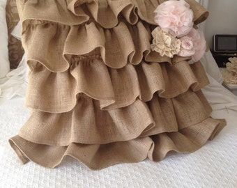 Burlap Ruffle Pillow with Pink Flower