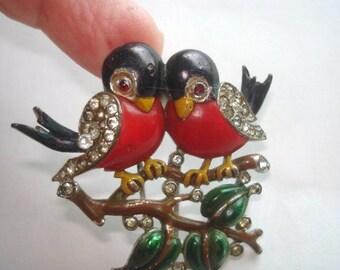Crown Trifari  Rare Love Birds Vintage  Enamel Rhinestone Fur Clip Brooch  Vintage Jewelry Designer Alfred Philippe Pat 11910