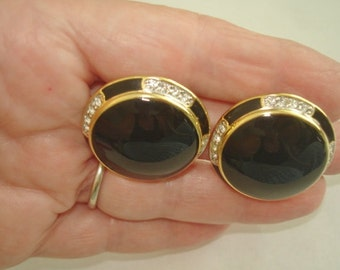 Black Gold Rhinestone Clip Earrings