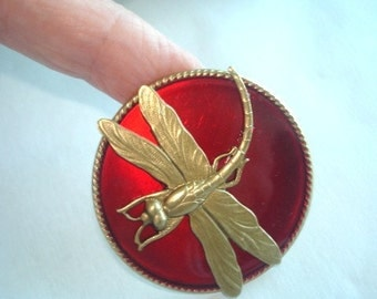 Red Dragonfly Animal Brooch