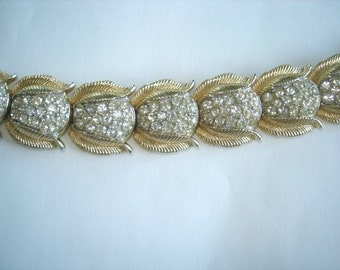 Crown Trifari Bracelet  Rhinestone Gold Tone