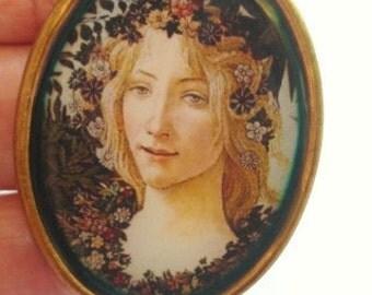 Art Deco Lady Vintage Jewelry Brooch KL Design