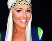 Seattle Seahawks Blue Green White Hawks Crochet Hippie Braid Hair Headband Woman Girl Hair Band Boho Wrap Head Fashion Knit Teen Accessory