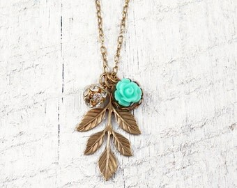 Leaf Pendant Flower Necklace Crystal Charm Necklace Bridesmaid Gift Nature Jewelry Choice of Colors