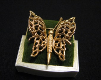 "Vintage Monet 1966 ""Monet's Menagerie"" Gold Tone Filigree Butterfly Pin Brooch BOOK PIECE"