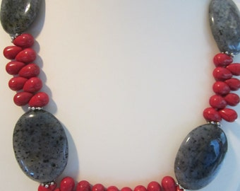 Red Coral Magnesite and Labradorite Statement Necklace, Rodeo Jewelry, Country Wedding, Rustic Jewelry, Fall Jewelry,Christmas Jewelry,Red.