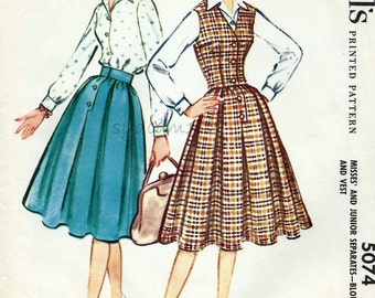 Vintage 1950s Pattern Separates Wardrobe Full Box Pleated Skirt Button Front Blouse and Vest 1959 McCall's 5074 Bust 38 UNCUT