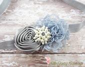 Gray Flower Headband, Silver Satin & Lace Flower Headband, Newborn Headband, Baby Hair Clip, Infant Toddler Child, Baby Girls Headband