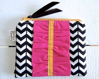 Handmade Small Zip Pouch with Ruffle - Black and Cream Chevron with Hot Pink Ruffle and Mustard Ribbon