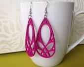 Fuschia Pierced Teardrop Wooden Charm Earrings