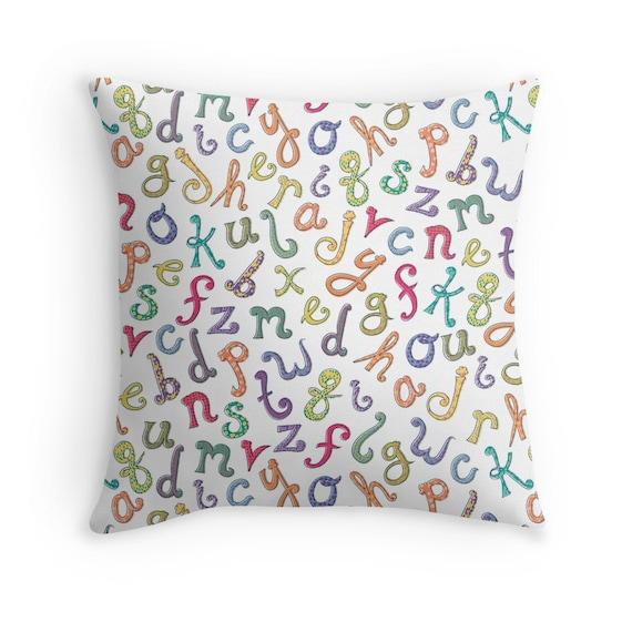Items similar to Letters Pillow Cover, Alphabet Pillow, ABC Throw Pillow, Nursery Decor, Kids ...