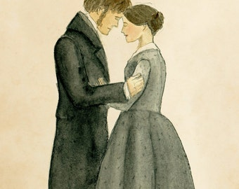 Jane Eyre and Mr.Rochester art print.  5x7. Charlotte Bronte.