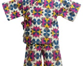Girls Kimono in SOUTWEST KALEIDOSCOPE kimono top and shorts set Japanese baby toddler kids girls jinbei