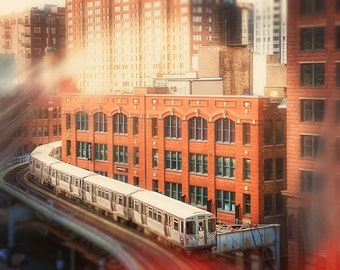 Chicago Loop Art, color train photography, L Train wall art print - skyline, golden, water tower, Chicago home decor, urban train wall art